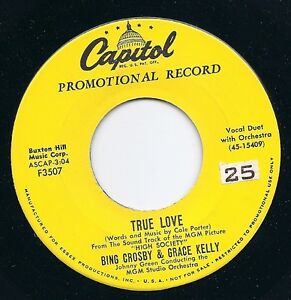 """7"""" FRANK SINATRA/BING CROSBY/GRACE KELLY Promo 45 &quot;True Love&quot; CAPITOL F 3507 - <span itemprop=availableAtOrFrom>Quickborn, Deutschland</span> - 7"""" FRANK SINATRA/BING CROSBY/GRACE KELLY Promo 45 &quot;True Love&quot; CAPITOL F 3507 - Quickborn, Deutschland"""