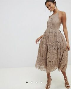 Details About Asos Asos Design Lace Pinny Scallop Edge Midi Prom Dress
