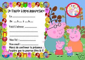5 cartes invitation anniversaire peppa pig 05 cochon - Photo de cochon a imprimer ...
