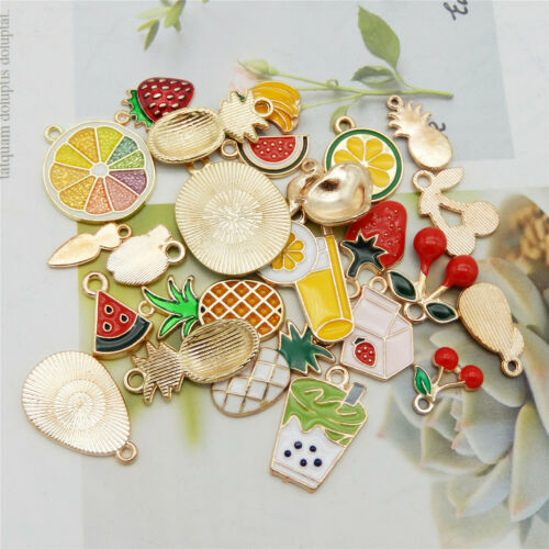 24PCS Mixed Colors Enamel Plated Fruit Apple Banana Charms Pendant DIY Findings