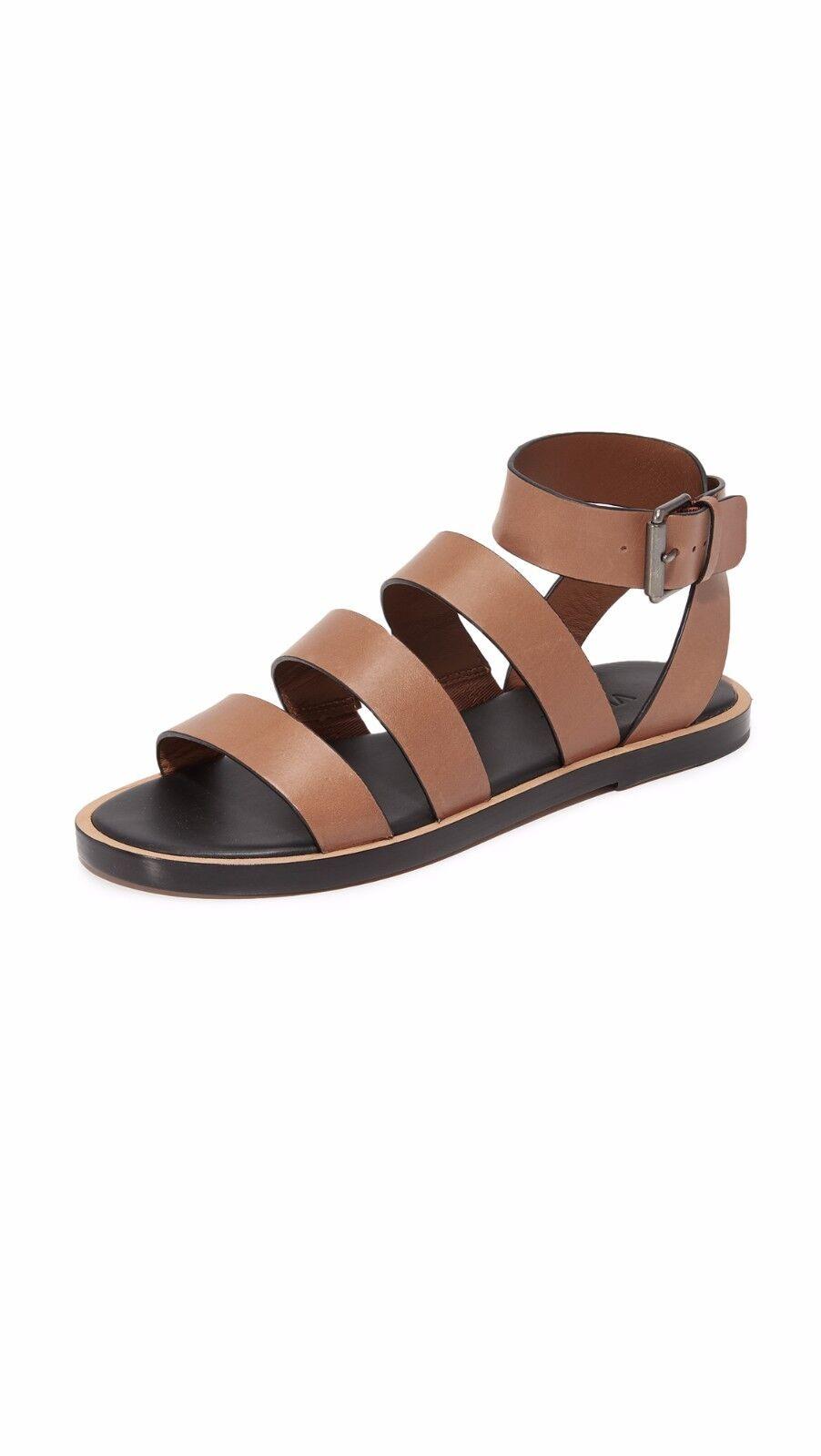 NIB Vince Macey Leather Flat Sandal Cedar (Camel Brown) Size 7, 9  275
