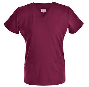 Medical-Nursing-Women-Stretch-Scrub-Top-Hospital-Nurse-Clinic-Uniform-Shirt