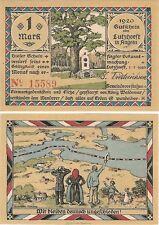 Germany 1 Mark 1920 Notgeld Lutzhoeft in Angeln UNC Uncirculated Banknote