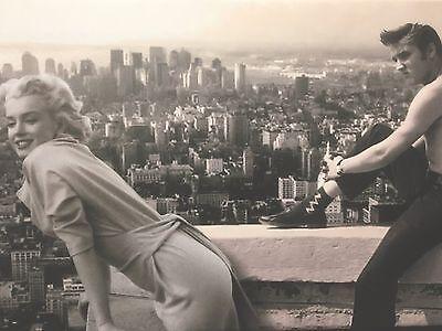 NEW MARILYN MONROE AND ELVIS PRESLEY IN CINEMA  PRINT ON FRAMED CANVAS WALL ART