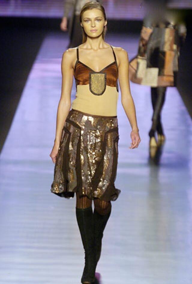 RUNWAY Etro Sequins Metallic Skirt SZ 40