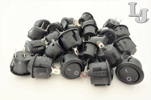 10x Mini Wippschalter Rund 1-polig EIN//AUS 250V//6A Snap In 20mm Wippenschalter