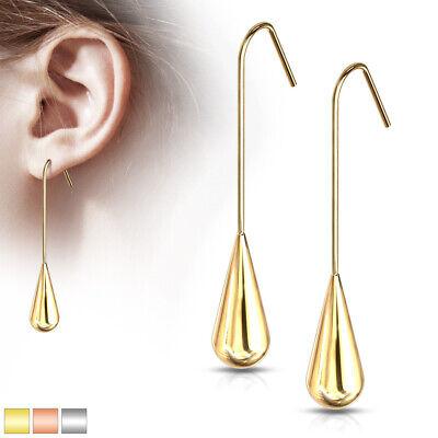 Long Teardrop Hanging Earrings Hypoallergenic Steel Gold Silver Or Rosegold Ebay