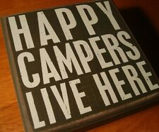 HAPPY CAMPERS LIVE HERE Rustic Lodge Green Log Cabin Camping Home Decor Sign NEW