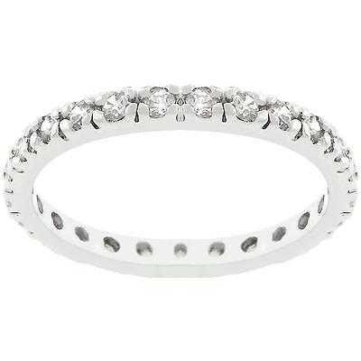 .60 TCW Round CZ Prong Set Stackable Eternity Bridal Wedding Band Ring Size 8
