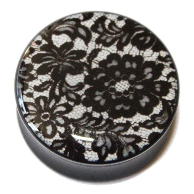 Beautiful Black Lace Acrylic Double Flared Ear Plug Flesh Tunnel 6mm - 25mm