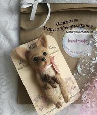 Needle felted brooch dog, Wool brooch, Miniature felt dog, Chihuahua
