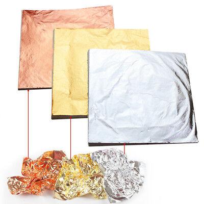 100sheets Gold Silver Copper Leaf Foil Paper Gilding Art Craft Diy Decor 14x14cm Ebay