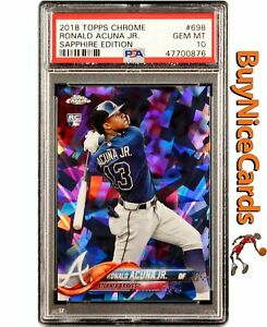 2018 Ronald Acuna Jr. Topps Chrome Sapphire Edition Refractor RC Rookie PSA 10