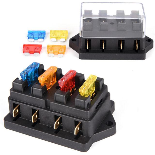 Car 4 Way Circuit Standard ATO Blade Fuse Box Block Holder 12V/24V+4  Way Car Fuse Box on