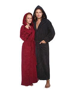 peignoir capuche 39 n plein femme homme extra longue avec capuche robe de chambre ebay. Black Bedroom Furniture Sets. Home Design Ideas