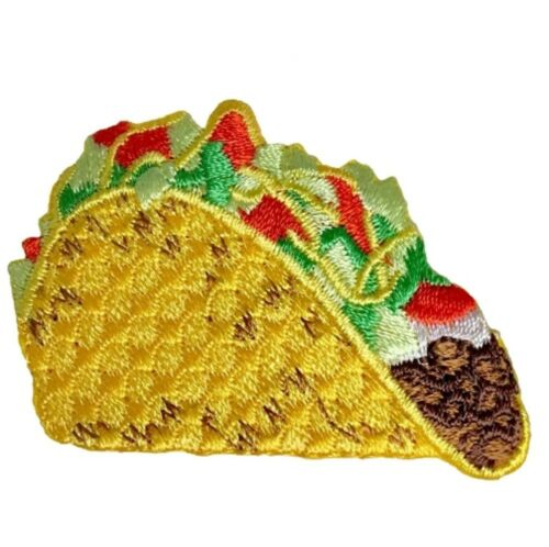 Tomatoes Lettuce Hard Shell Beef Taco Taco Applique Patch Iron on Cheese