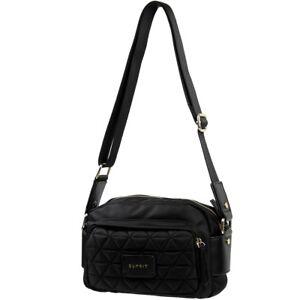 Esprit-Damen-Handtasche-Farbe-Schwarz-Tasche-Schultertasche-Stepp-Naehte-Lady-Bag