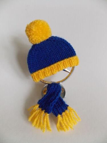 NEU * blau-gelbe Mütze+Schal für Ihren Mercedes-Stern mit Befestigung #14