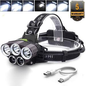 90000LM 5X T6 LED Headlamp Rechargeable Headlight Light Flashlight Head Torch