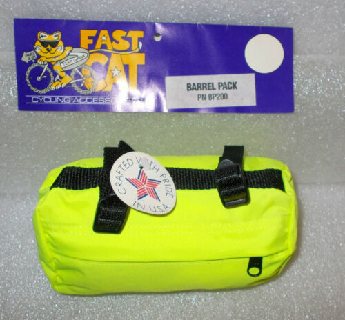 Rear Bicycle Barrel Pack Bag Heavy Nylon Resin Buckles and Zipper Bright Yellow