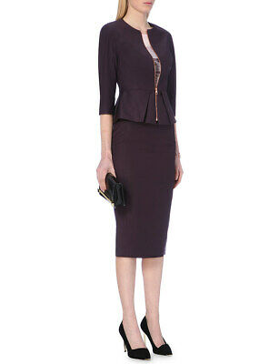"""TED BAKER/""""EBENS/""""PURPLE ZIP PENCIL LINED SKIRT UK 8 TED 1 USA 2 BNWT RRP  £119.00"""