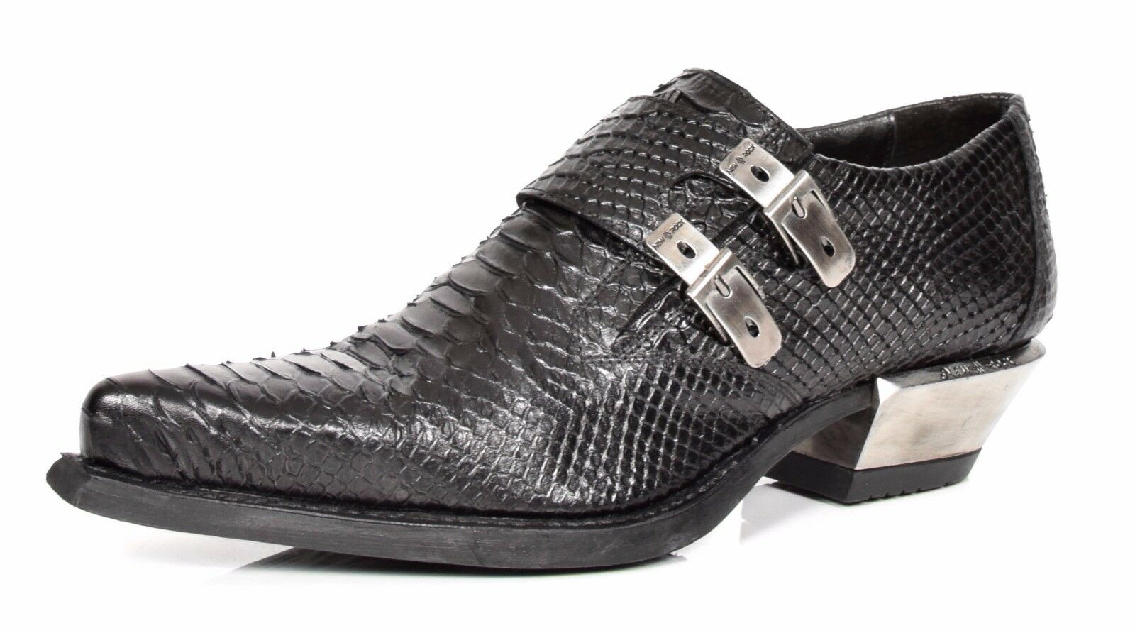 Mens Black Snakeskin Print Real Leather shoes New Rock Pointed Toe Smart Loafers