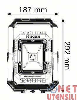 BOSCH GLI 18V-1900 LUCE FARO FARETTO A LED A BATTERIA 14.4 18 VOLT 1900 LUMEN