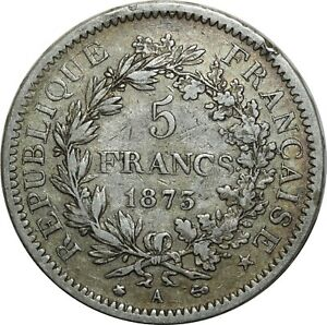 Travailleur O1473 5 Francs Hercule 1875 A Paris Argent Silver ->make Offer Adopter Une Technologie De Pointe