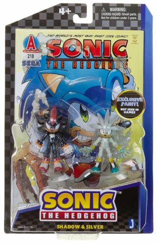 """Exclusive Paint Shadow /& Silver ~3/"""" Set Sonic The Hedgehog Comic Book Pack"""