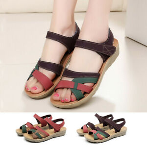 Womens-Ladies-Summer-Fashion-Basic-Leather-Sandals-Wedges-Comfort-Big-Size-Shoes