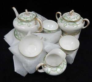 WM-Guerin-Limoges-France-White-Porcelain-China-Tea-Set-Green-Ribbon-Vintage