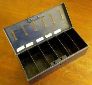 Collectable-Vintage-Dark-Blue-Metal-Savings-Tin-with-6-Slots