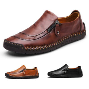 Fashion-Men-039-s-Leather-Casual-Zipper-Shoes-Breathable-Antiskid-Loafers-Moccasins