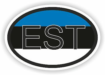 OVAL FLAG WITH EST ESTONIA COUNTRY CODE STICKER CAR MOTOCYCLE AUTO TRUCK LAPTOP