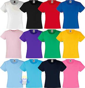 T-shirt-Bambina-Girl-FRUIT-OF-THE-LOOM-Maglietta-a-Manica-Corta-Nuova-Originale