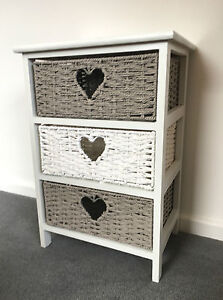 wholesale dealer 3aab6 dfb27 Details about White Grey Storage Unit Chest Wicker Drawers Girls Bedroom  Bedside Table Cabinet