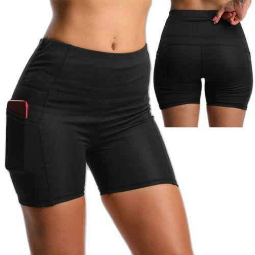 Women High Waist Biker Shorts Pockets Yoga Pants Running Workout Fitness Booty F