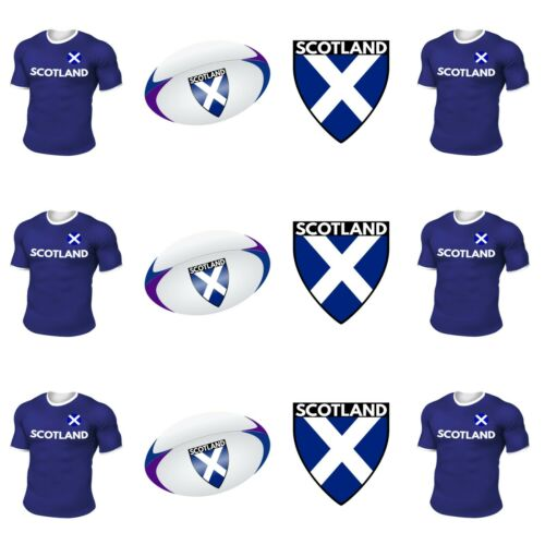 PRECUT Rugby  Cupcake Toppers Cake Party Decorations Scotland
