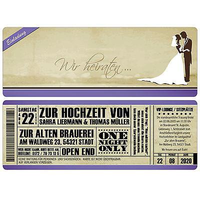 Vintage Einladungskarten Zur Hochzeit - Eintrittskarte - Ticket - Einladung Starker Widerstand Gegen Hitze Und Starkes Tragen