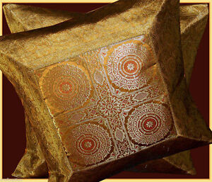 SET-OF-TWO-SILK-BROCADE-PILLOW-CUSHION-COVER-GOLDEN-DARK-ORANGE-FROM-IND1A