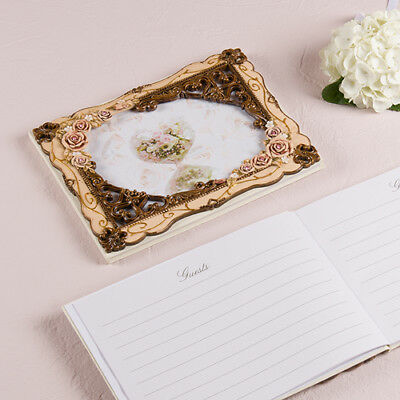 Elegant Vintage Rose Wedding Guest Book Wedding Reception
