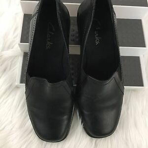 Clarks-Womens-Size-6-5-Low-Heel-Shoes-Black-Slide-on-Leather