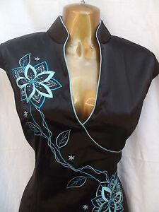 eleganza orientale turchese cinese vestito 20 nero Sexy 6Xq5FWx