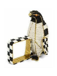 MACKENZIE-CHILDS-Courtly-Check-Beaded-PENGUIN-NAPKIN-RING-NEW-34-m19-a