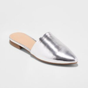 Women-039-s-Junebug-Backless-Mules-A-New-Day-Silver-Multiple-Sizes