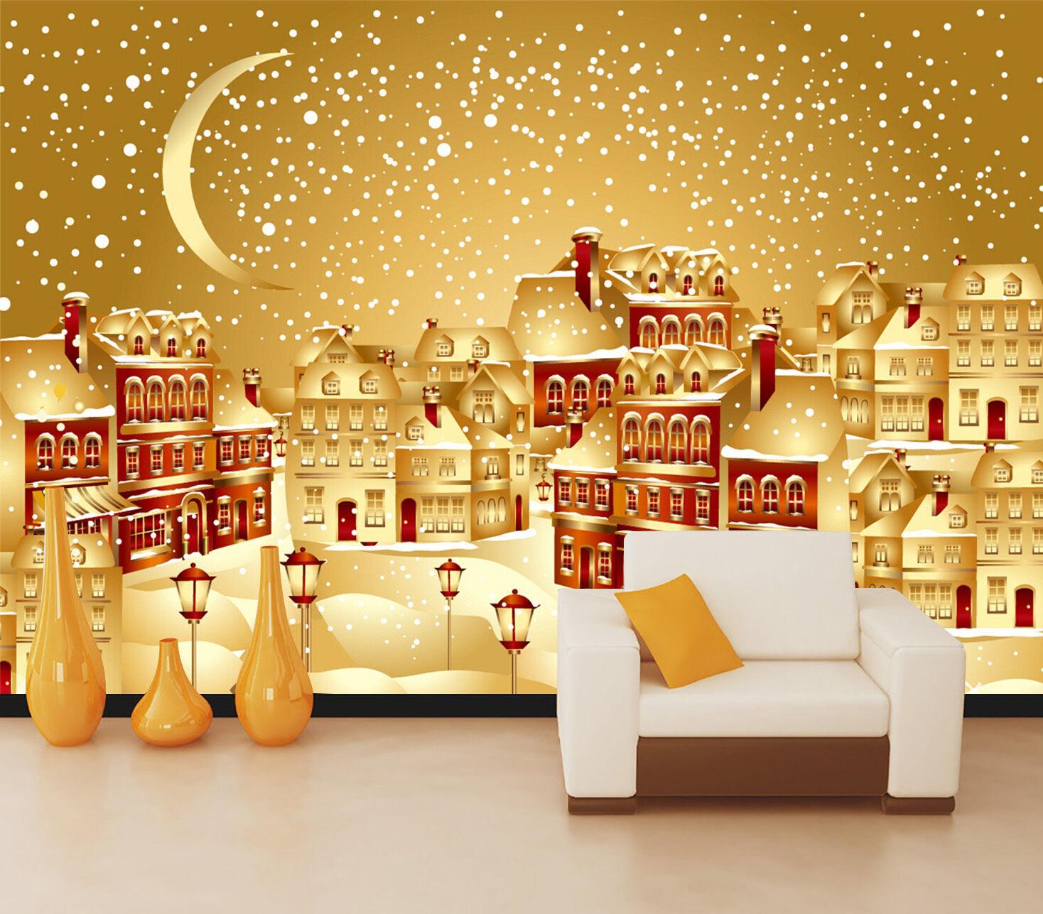 3D Weihnachten Schnee, Haus 64 Fototapeten Wandbild Bild Tapete Familie Kinder