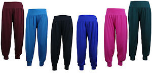 Girls-Kids-Yoga-Plain-hareem-Harem-pants-Trousers-3-4-Pants-Leggings-2-13-Years