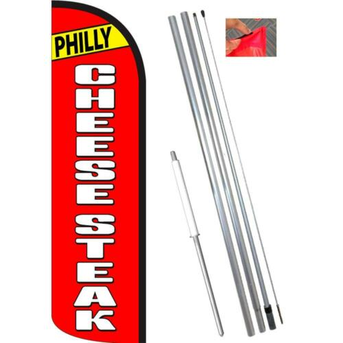 Red//White PHILLY CHEESESTEAK Windless-Style Feather Flag Bundle 14/' OR Replace