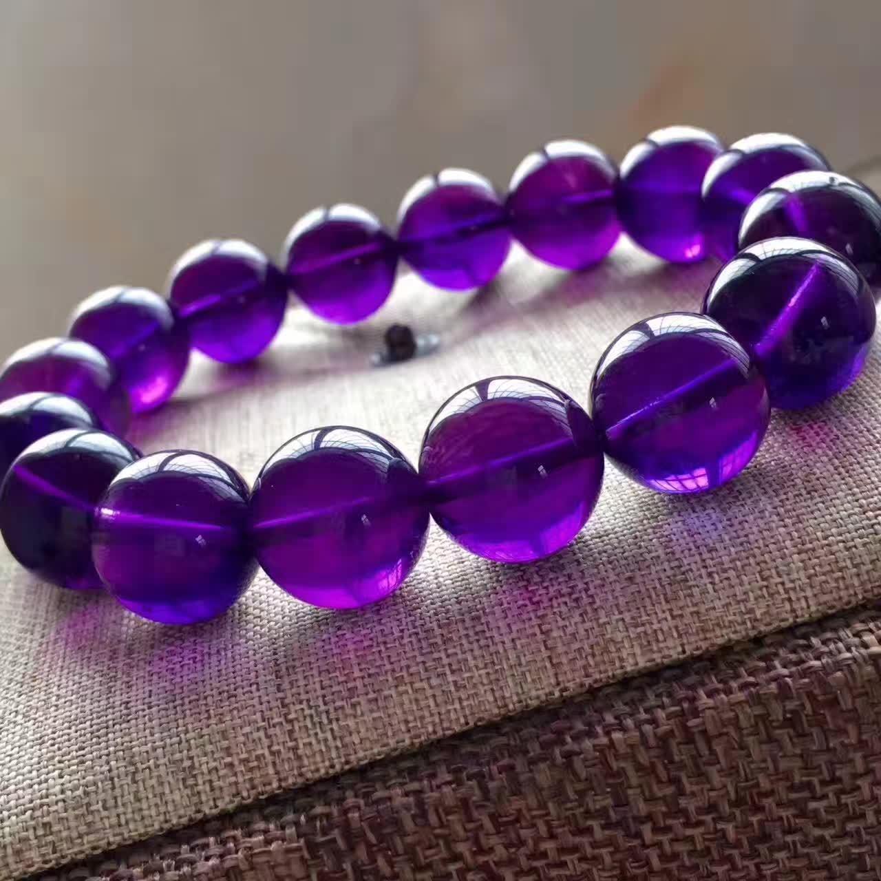 Natural Purple Amethyst Quartz Crystal Round Beads Bracelet 13mm AAA