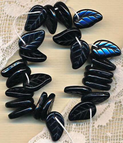 Vintage Black Paisley Shaped Glass Leaf Charms 14 mm